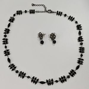Jewelry - Black beaded necklace and earrings